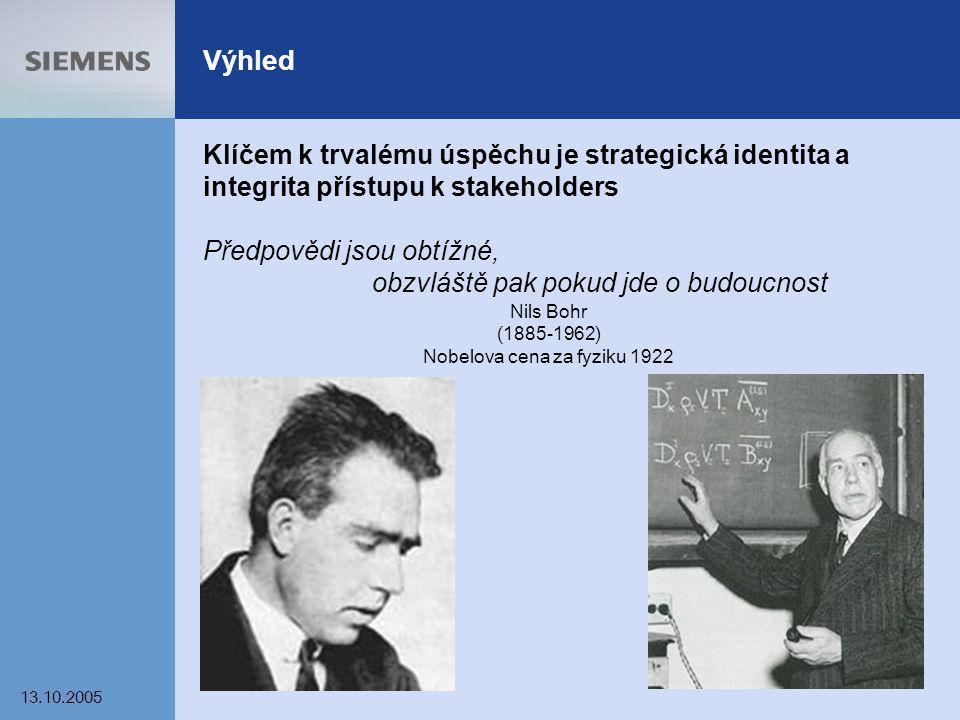 13.10.2005 23 Výhled Klíčem k trvalému úspěchu je strategická identita a integrita přístupu k stakeholders Předpovědi jsou obtížné, obzvláště pak poku
