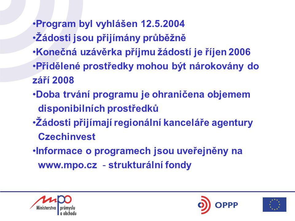 Program byl vyhlášen 12.5.2004 Žádosti jsou přijímány průběžně Konečná uzávěrka příjmu žádostí je říjen 2006 Přidělené prostředky mohou být nárokovány do září 2008 Doba trvání programu je ohraničena objemem disponibilních prostředků Žádosti přijímají regionální kanceláře agentury Czechinvest Informace o programech jsou uveřejněny na www.mpo.cz - strukturální fondy