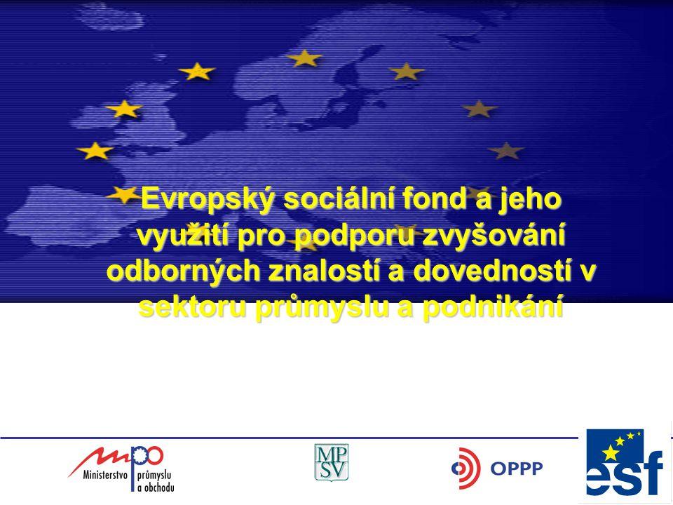 Evropský sociální fond a jeho využití pro podporu zvyšování odborných znalostí a dovedností v sektoru průmyslu a podnikání