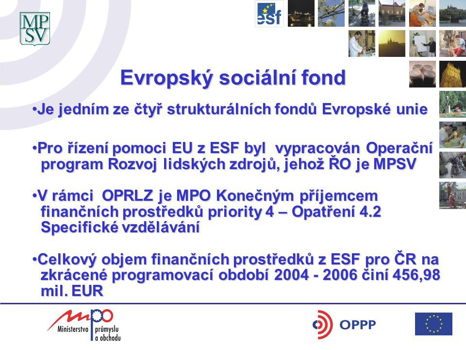Evropský sociální fond Je jedním ze čtyř strukturálních fondů Evropské unieJe jedním ze čtyř strukturálních fondů Evropské unie Pro řízení pomoci EU z ESF byl vypracován OperačníPro řízení pomoci EU z ESF byl vypracován Operační program Rozvoj lidských zdrojů, jehož ŘO je MPSV program Rozvoj lidských zdrojů, jehož ŘO je MPSV V rámci OPRLZ je MPO Konečným příjemcemV rámci OPRLZ je MPO Konečným příjemcem finančních prostředků priority 4 – Opatření 4.2 finančních prostředků priority 4 – Opatření 4.2 Specifické vzdělávání Specifické vzdělávání Celkový objem finančních prostředků z ESF pro ČR naCelkový objem finančních prostředků z ESF pro ČR na zkrácené programovací období 2004 - 2006 činí 456,98 zkrácené programovací období 2004 - 2006 činí 456,98 mil.