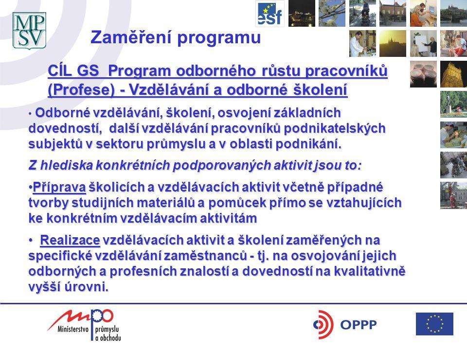 CÍL GS Program odborného růstu pracovníků (Profese) - Vzdělávání a odborné školení Odborné vzdělávání, školení, osvojení základních dovedností, další vzdělávání pracovníků podnikatelských subjektů v sektoru průmyslu a v oblasti podnikání.