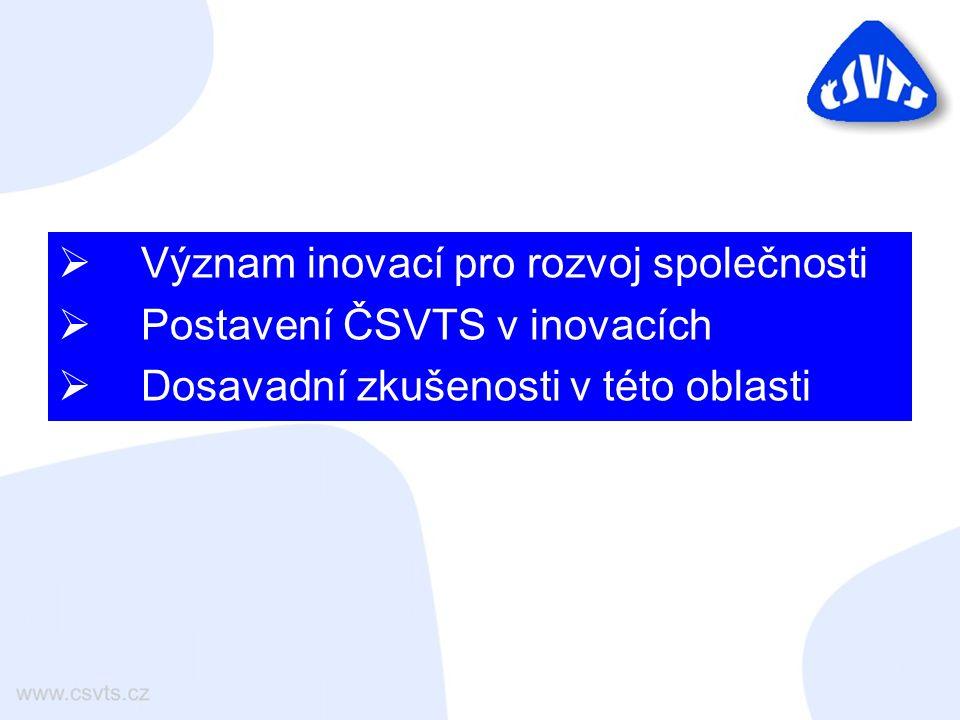  Význam inovací pro rozvoj společnosti  Postavení ČSVTS v inovacích  Dosavadní zkušenosti v této oblasti