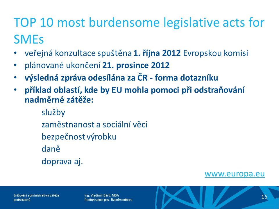Ing. Vladimír Bártl, MBA Ředitel sekce pov. řízením odboru Snižování administrativní zátěže podnikatelů TOP 10 most burdensome legislative acts for SM