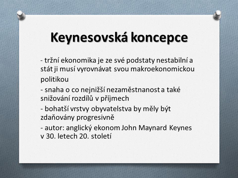 Keynesovská koncepce - tržní ekonomika je ze své podstaty nestabilní a stát ji musí vyrovnávat svou makroekonomickou politikou - snaha o co nejnižší nezaměstnanost a také snižování rozdílů v příjmech - bohatší vrstvy obyvatelstva by měly být zdaňovány progresivně - autor: anglický ekonom John Maynard Keynes v 30.