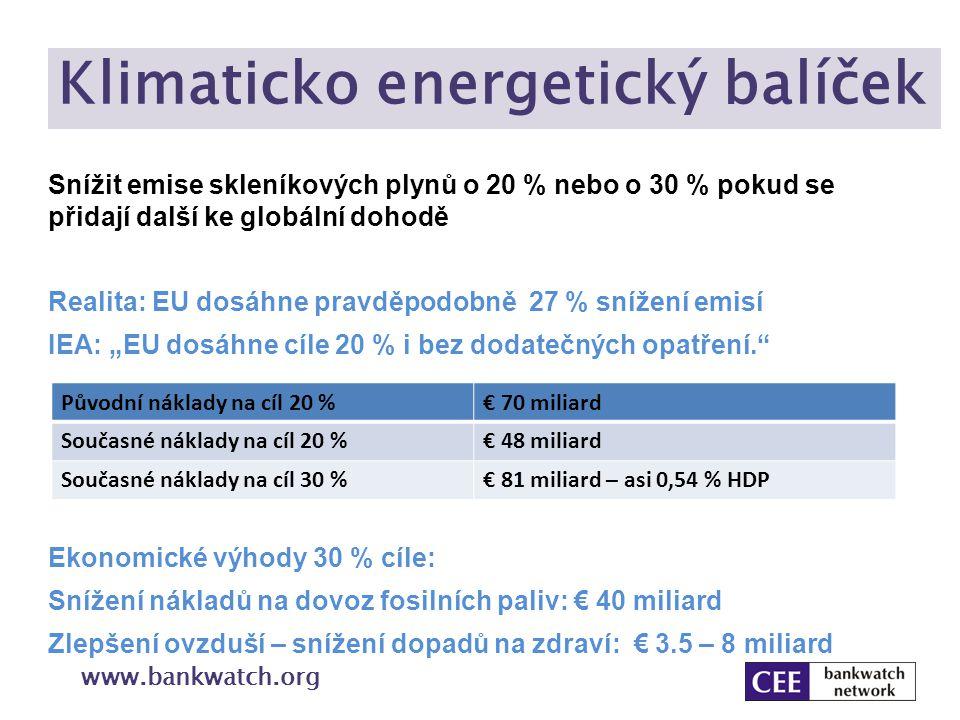 Klimaticko energetický balíček www.bankwatch.org Snížit emise skleníkových plynů o 20 % nebo o 30 % pokud se přidají další ke globální dohodě Realita: