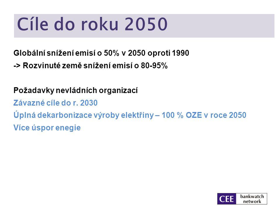 Cíle do roku 2050 Globální snížení emisí o 50% v 2050 oproti 1990 -> Rozvinuté země snížení emisí o 80-95% Požadavky nevládních organizací Závazné cíl