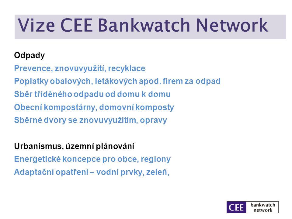 Vize CEE Bankwatch Network Odpady Prevence, znovuvyužití, recyklace Poplatky obalových, letákových apod. firem za odpad Sběr tříděného odpadu od domu