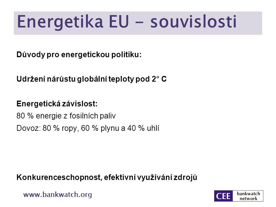Klimaticko energetický balíček Snížení spotřeby energie o 20 % Nezávazný cíl Součet cílů jednotlivých členských států pro 2020 nedává dohromady potřebnou sumu Příležitosti: Finanční úspora: € 200 miliard za rok (více než je roční rozpočet EU) Pracovní místa: stavebnictví Rozvoj technologií: pasivní budovy, průmysl, doprava, spotřebiče,