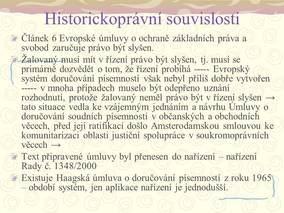 Historickoprávní souvislosti V roce 2004 přijala Komise zprávu o uplatňování nařízení č.