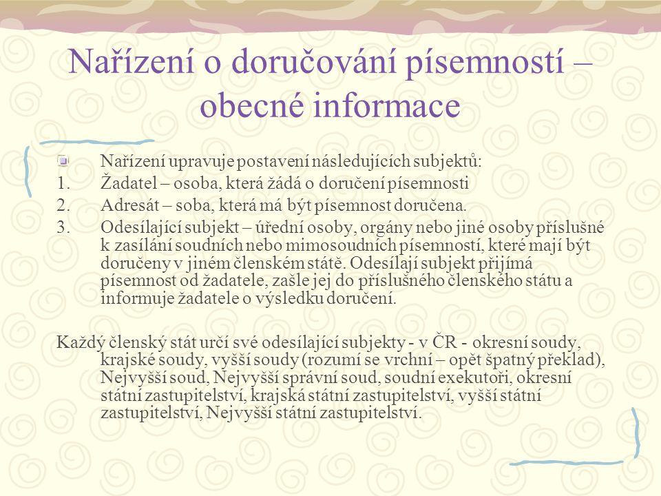 Nařízení o doručování písemností – obecné informace 4.