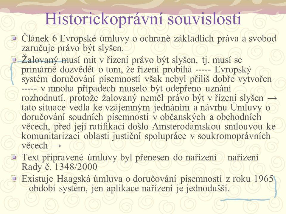 Historickoprávní souvislosti Článek 6 Evropské úmluvy o ochraně základlích práva a svobod zaručuje právo být slyšen. Žalovaný musí mít v řízení právo