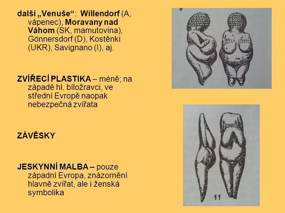 """další """"Venuše"""": Willendorf (A, vápenec), Moravany nad Váhom (SK, mamutovina), Gönnersdorf (D), Kostěnki (UKR), Savignano (I), aj. ZVÍŘECÍ PLASTIKA – m"""