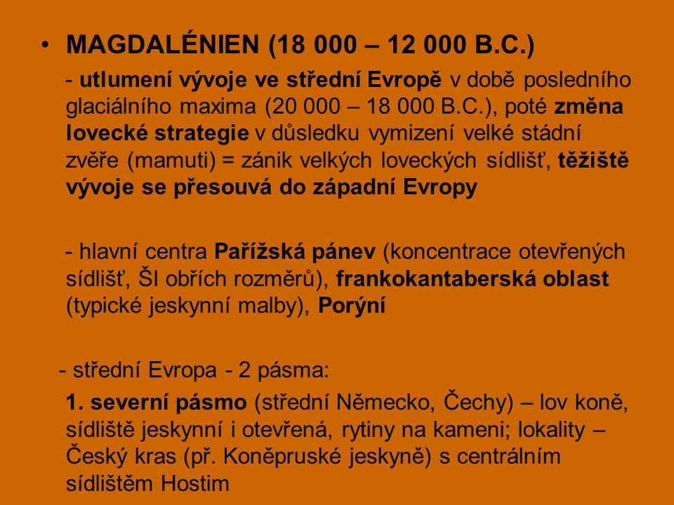 MAGDALÉNIEN (18 000 – 12 000 B.C.) - utlumení vývoje ve střední Evropě v době posledního glaciálního maxima (20 000 – 18 000 B.C.), poté změna lovecké