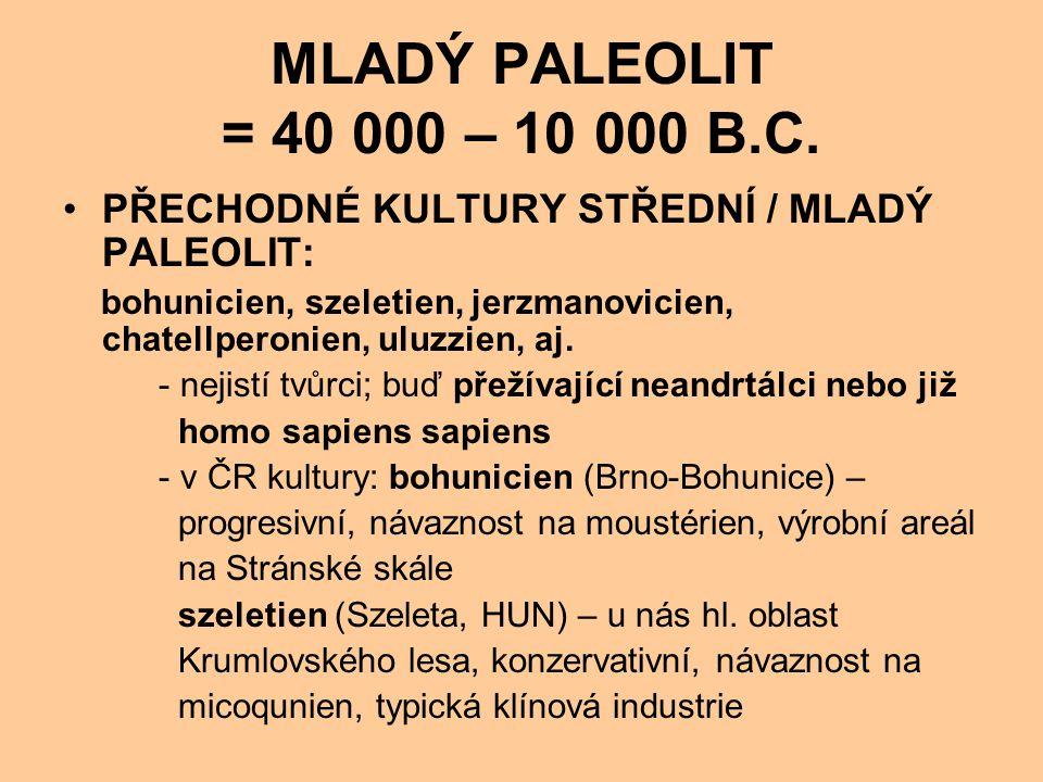 MLADÝ PALEOLIT = 40 000 – 10 000 B.C. PŘECHODNÉ KULTURY STŘEDNÍ / MLADÝ PALEOLIT: bohunicien, szeletien, jerzmanovicien, chatellperonien, uluzzien, aj