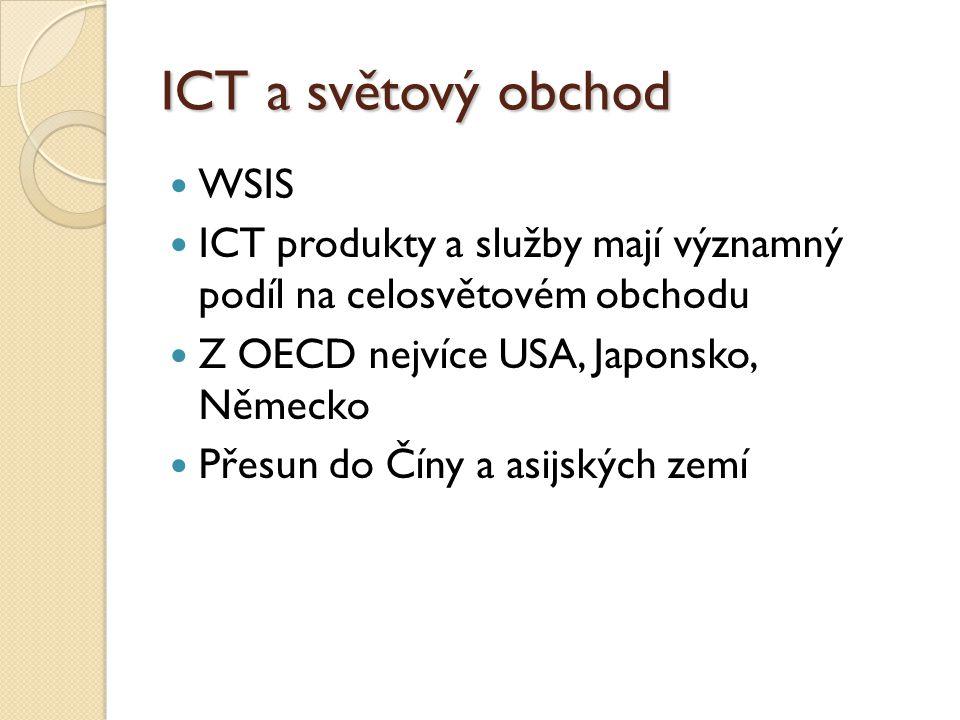 ICT a světový obchod WSIS ICT produkty a služby mají významný podíl na celosvětovém obchodu Z OECD nejvíce USA, Japonsko, Německo Přesun do Číny a asijských zemí