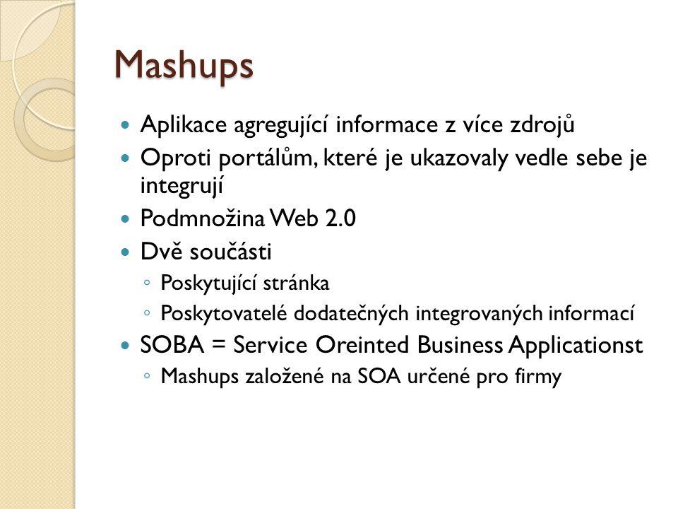 Mashups Aplikace agregující informace z více zdrojů Oproti portálům, které je ukazovaly vedle sebe je integrují Podmnožina Web 2.0 Dvě součásti ◦ Poskytující stránka ◦ Poskytovatelé dodatečných integrovaných informací SOBA = Service Oreinted Business Applicationst ◦ Mashups založené na SOA určené pro firmy