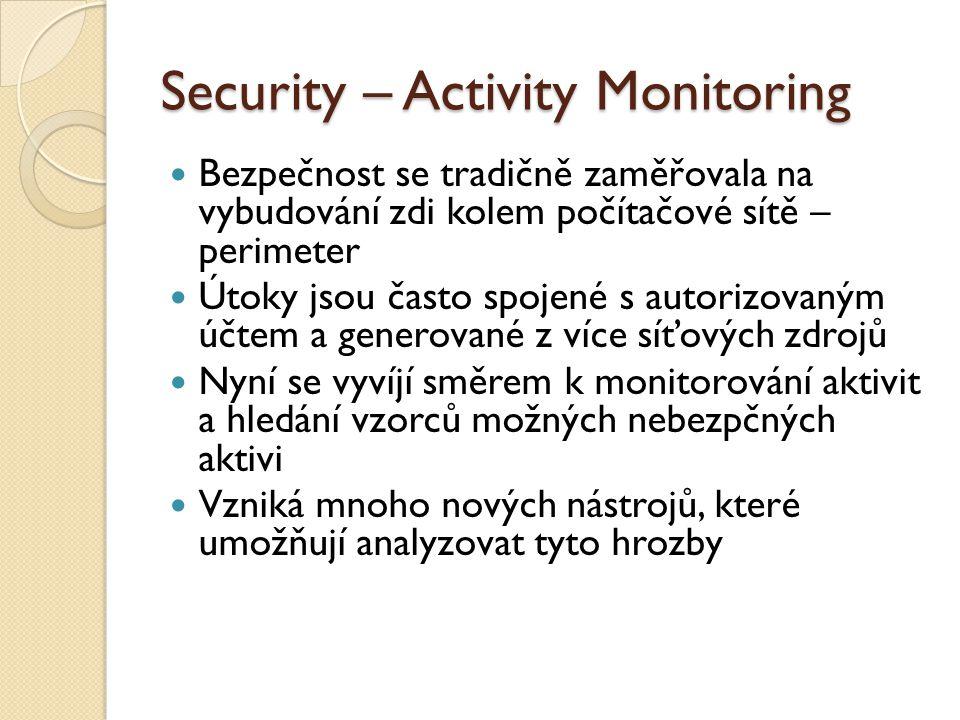 Security – Activity Monitoring Bezpečnost se tradičně zaměřovala na vybudování zdi kolem počítačové sítě – perimeter Útoky jsou často spojené s autorizovaným účtem a generované z více síťových zdrojů Nyní se vyvíjí směrem k monitorování aktivit a hledání vzorců možných nebezpčných aktivi Vzniká mnoho nových nástrojů, které umožňují analyzovat tyto hrozby