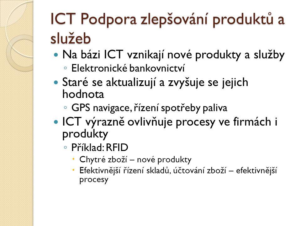 ICT Podpora zlepšování produktů a služeb Na bázi ICT vznikají nové produkty a služby ◦ Elektronické bankovnictví Staré se aktualizují a zvyšuje se jejich hodnota ◦ GPS navigace, řízení spotřeby paliva ICT výrazně ovlivňuje procesy ve firmách i produkty ◦ Příklad: RFID  Chytré zboží – nové produkty  Efektivnější řízení skladů, účtování zboží – efektivnější procesy