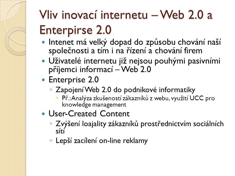 Vliv inovací internetu – Web 2.0 a Enterpirse 2.0 Intenet má velký dopad do způsobu chování naší společnosti a tím i na řízení a chování firem Uživatelé internetu již nejsou pouhými pasivními příjemci informací – Web 2.0 Enterprise 2.0 ◦ Zapojení Web 2.0 do podnikové informatiky  Př.: Analýza zkušeností zákazníků z webu, využití UCC pro knowledge management User-Created Content ◦ Zvýšení loajality zákazníků prostřednictvím sociálních sítí ◦ Lepší zacílení on-line reklamy