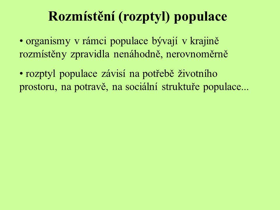 Rozmístění (rozptyl) populace organismy v rámci populace bývají v krajině rozmístěny zpravidla nenáhodně, nerovnoměrně rozptyl populace závisí na potř