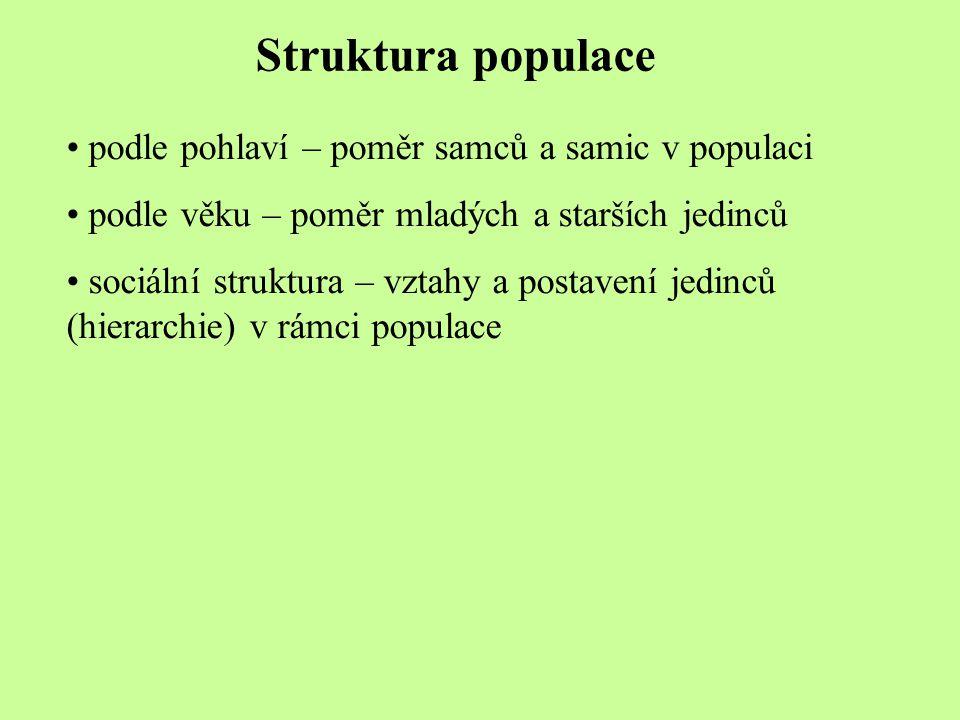 Struktura populace podle pohlaví – poměr samců a samic v populaci podle věku – poměr mladých a starších jedinců sociální struktura – vztahy a postaven