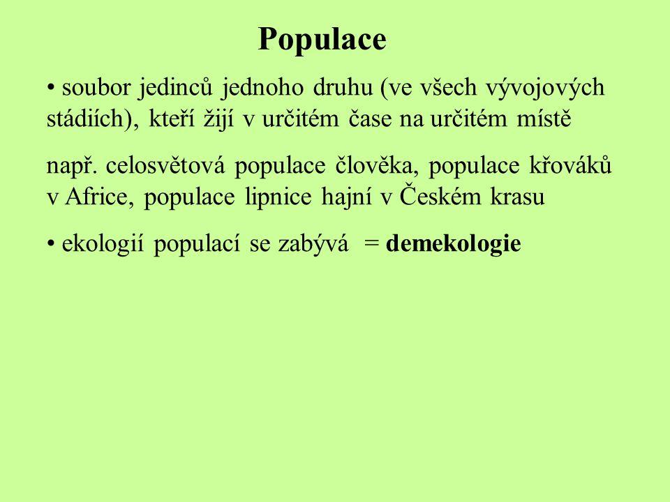 Populace soubor jedinců jednoho druhu (ve všech vývojových stádiích), kteří žijí v určitém čase na určitém místě např. celosvětová populace člověka, p