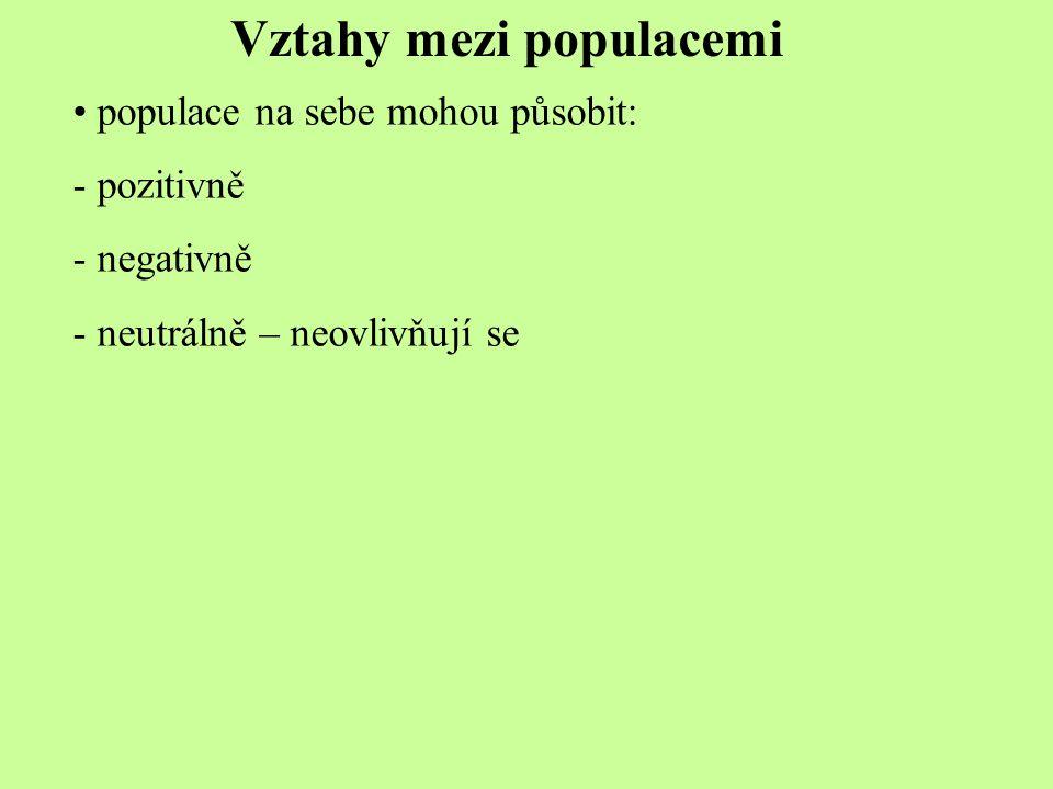 Vztahy mezi populacemi populace na sebe mohou působit: - pozitivně - negativně - neutrálně – neovlivňují se