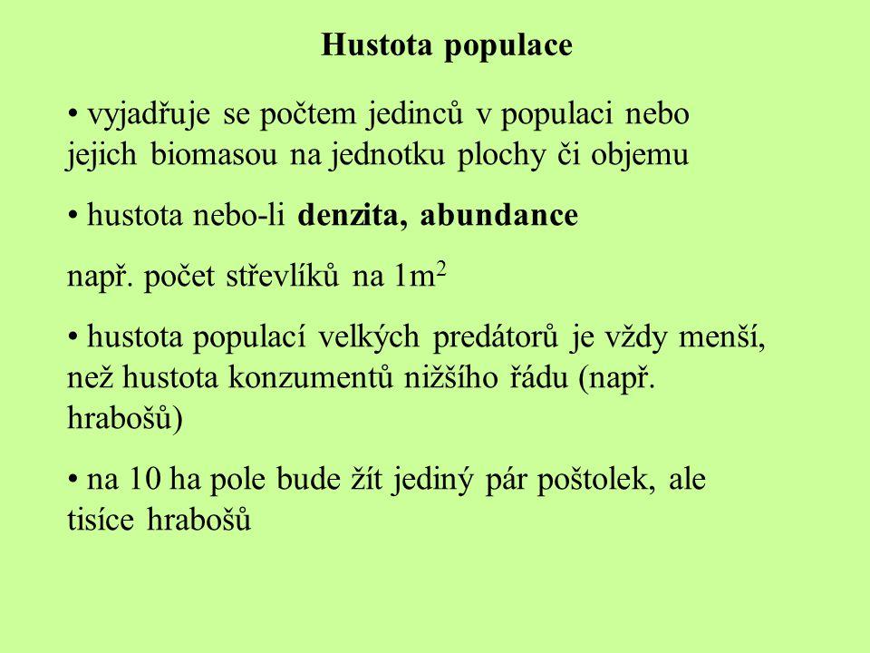 Hustota populace vyjadřuje se počtem jedinců v populaci nebo jejich biomasou na jednotku plochy či objemu hustota nebo-li denzita, abundance např. poč