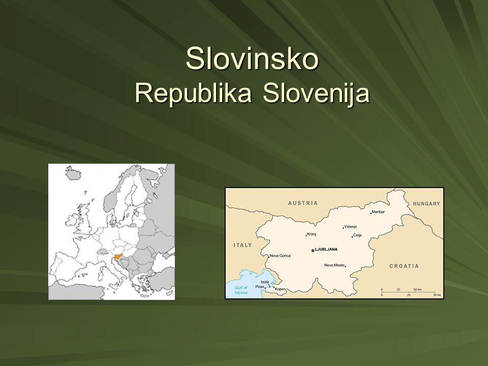 Základní údaje… Rozloha: 20 256 km² (150/svět) Rozloha: 20 256 km² (150/svět) Hranice: Rakousko, Maďarsko, Chorvatsko, Itálie, Jaderské moře Hranice: Rakousko, Maďarsko, Chorvatsko, Itálie, Jaderské moře Hlavní město:Lublaň Hlavní město:Lublaň Obyvatelstvo: 2 010 347 (83,06% Slovinci,1,98% Srbů, 1,81% Chorvatů, 1,10% Bosňanů…) Obyvatelstvo: 2 010 347 (83,06% Slovinci,1,98% Srbů, 1,81% Chorvatů, 1,10% Bosňanů…) Náboženství: 57,8% katolické, 23% ateisté, 2,4%muslimové, 2,3% ortodoxní křesťané, ostatní...