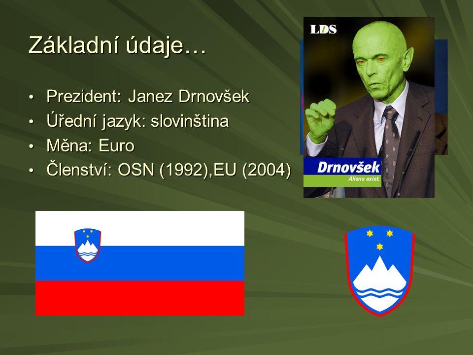 Základní údaje… Prezident: Janez Drnovšek Prezident: Janez Drnovšek Úřední jazyk: slovinština Úřední jazyk: slovinština Měna: Euro Měna: Euro Členství