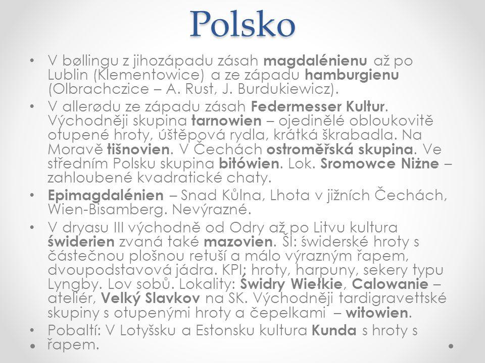 Polsko V bøllingu z jihozápadu zásah magdalénienu až po Lublin (Klementowice) a ze západu hamburgienu (Olbrachczice – A. Rust, J. Burdukiewicz). V all