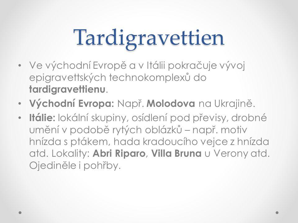 Tardigravettien Ve východní Evropě a v Itálii pokračuje vývoj epigravettských technokomplexů do tardigravettienu. Východní Evropa: Např. Molodova na U