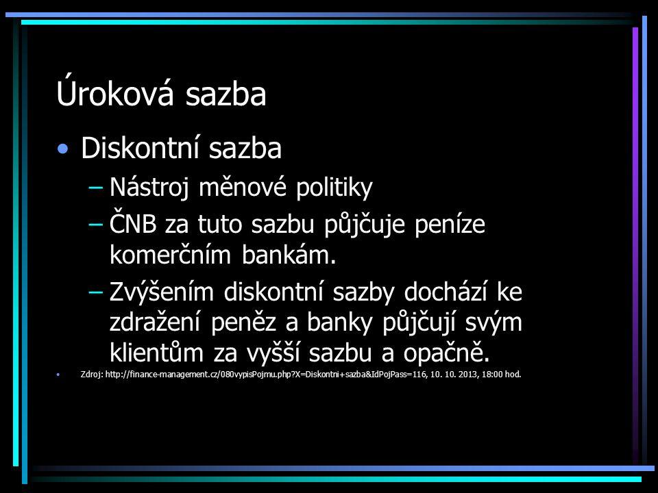 Úroková sazba Diskontní sazba –Nástroj měnové politiky –ČNB za tuto sazbu půjčuje peníze komerčním bankám.