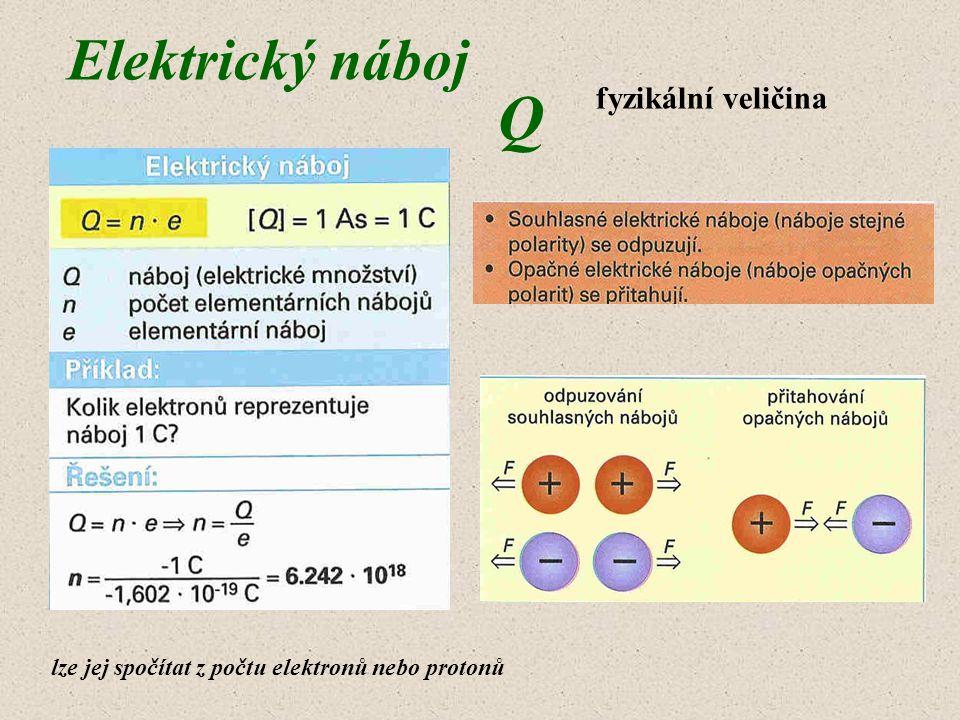 Elektrický náboj lze jej spočítat z počtu elektronů nebo protonů fyzikální veličina Q