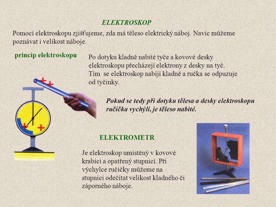 ELEKTROSKOP Pomocí elektroskopu zjišťujeme, zda má těleso elektrický náboj. Navíc můžeme poznávat i velikost náboje. princip elektroskopu Pokud se ted