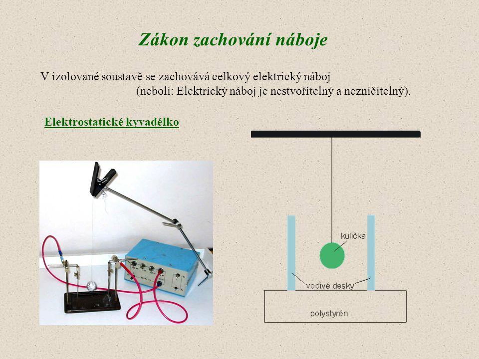 V izolované soustavě se zachovává celkový elektrický náboj (neboli: Elektrický náboj je nestvořitelný a nezničitelný). Zákon zachování náboje Elektros