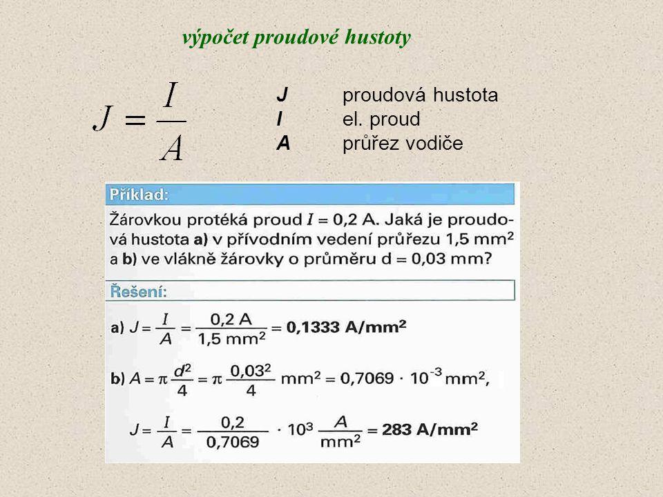 výpočet proudové hustoty Jproudová hustota Iel. proud Aprůřez vodiče