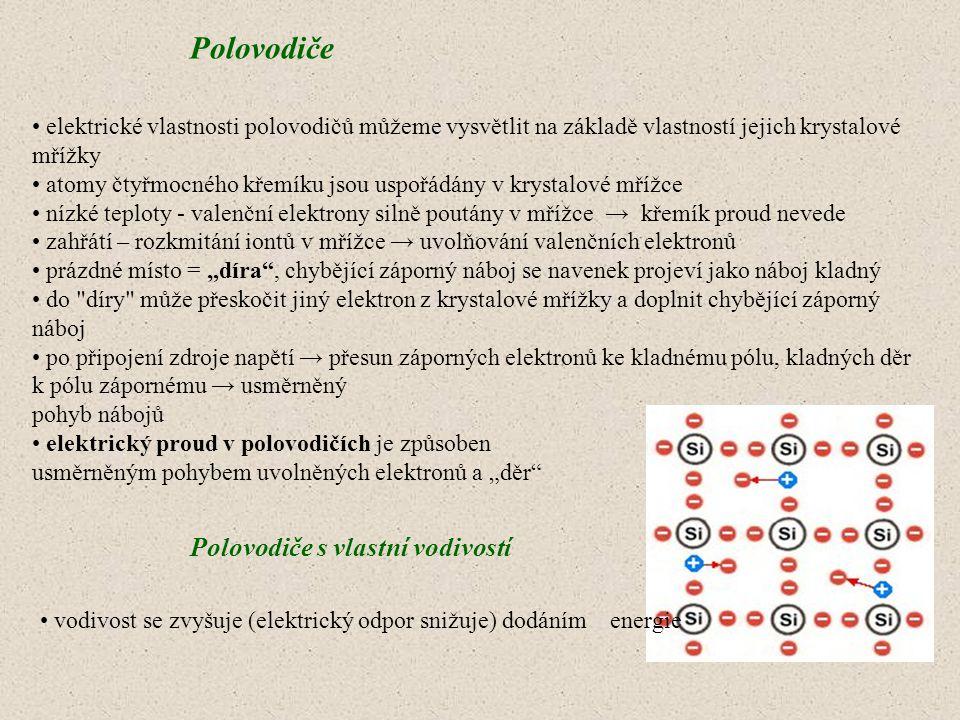 Polovodiče elektrické vlastnosti polovodičů můžeme vysvětlit na základě vlastností jejich krystalové mřížky atomy čtyřmocného křemíku jsou uspořádány