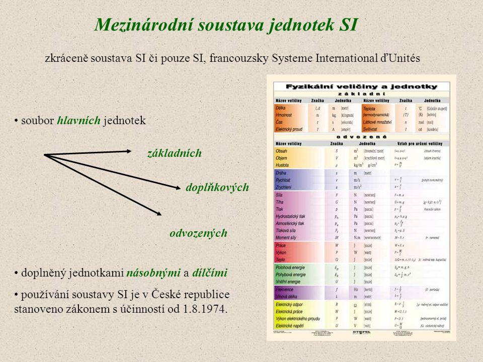 soubor hlavních jednotek doplněný jednotkami násobnými a dílčími používání soustavy SI je v České republice stanoveno zákonem s účinností od 1.8.1974.