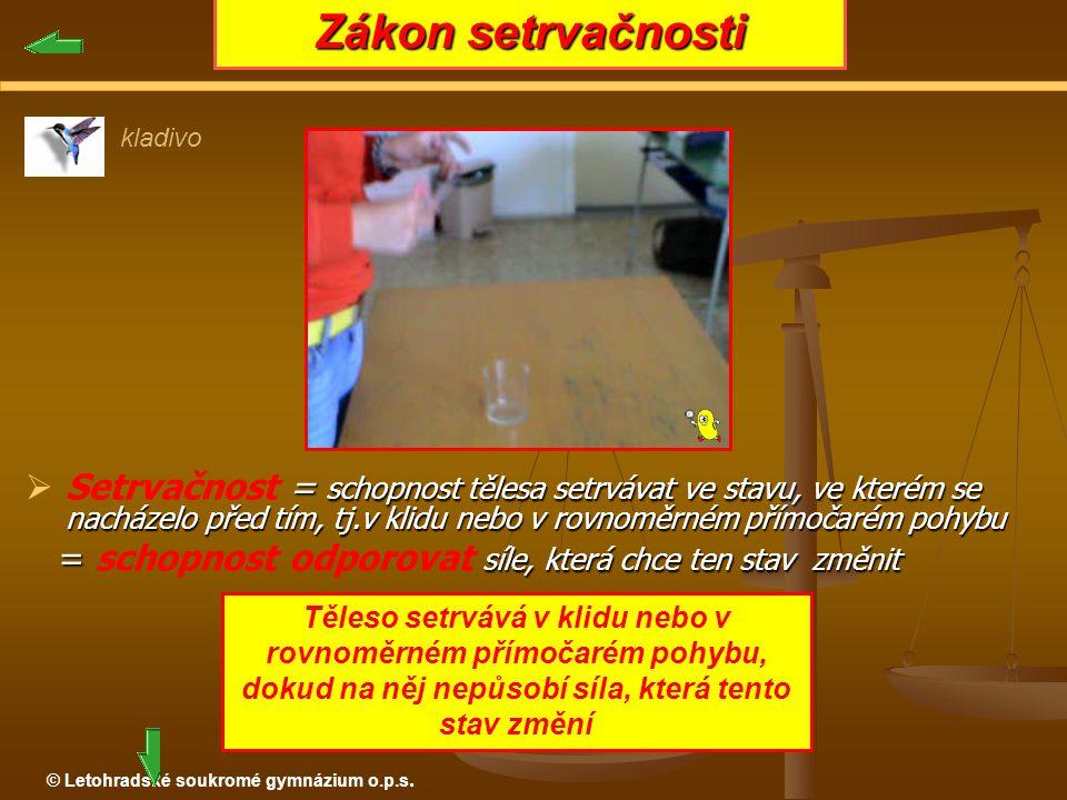© Letohradské soukromé gymnázium o.p.s.  = schopnost tělesa setrvávat ve stavu, ve kterém se nacházelo před tím, tj.v klidu nebo v rovnoměrném přímoč