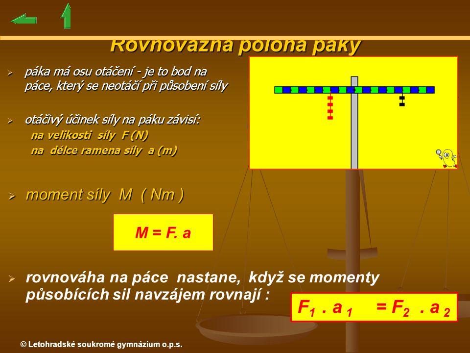 © Letohradské soukromé gymnázium o.p.s. Rovnovážná poloha páky  moment síly M ( Nm )   rovnováha na páce nastane, když se momenty působících sil na