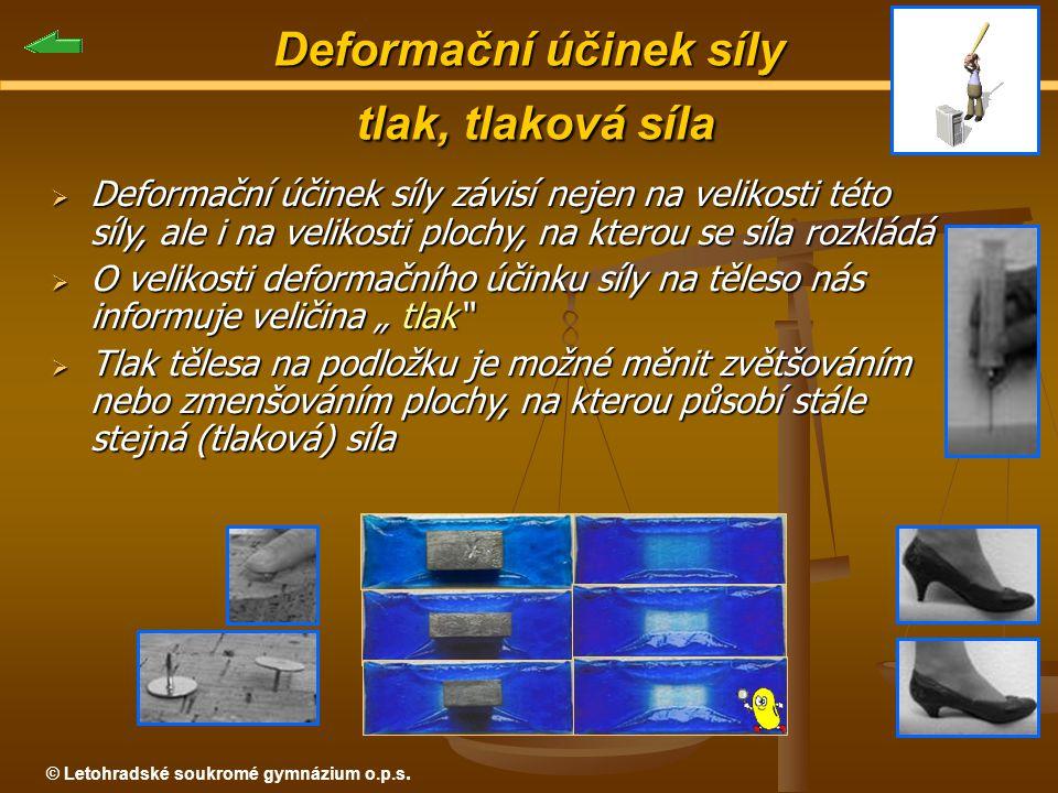 © Letohradské soukromé gymnázium o.p.s. Deformační účinek síly tlak, tlaková síla  Deformační účinek síly závisí nejen na velikosti této síly, ale i