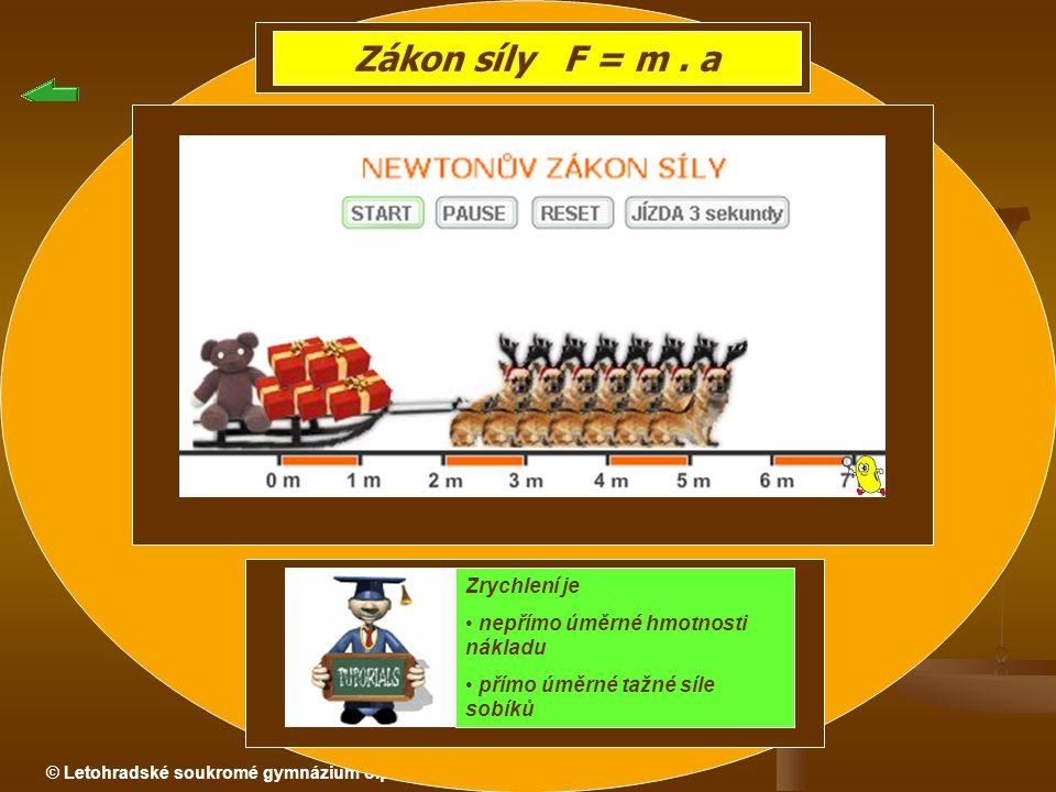© Letohradské soukromé gymnázium o.p.s. Zákon síly F = m. a Zrychlení je nepřímo úměrné hmotnosti nákladu přímo úměrné tažné síle sobíků