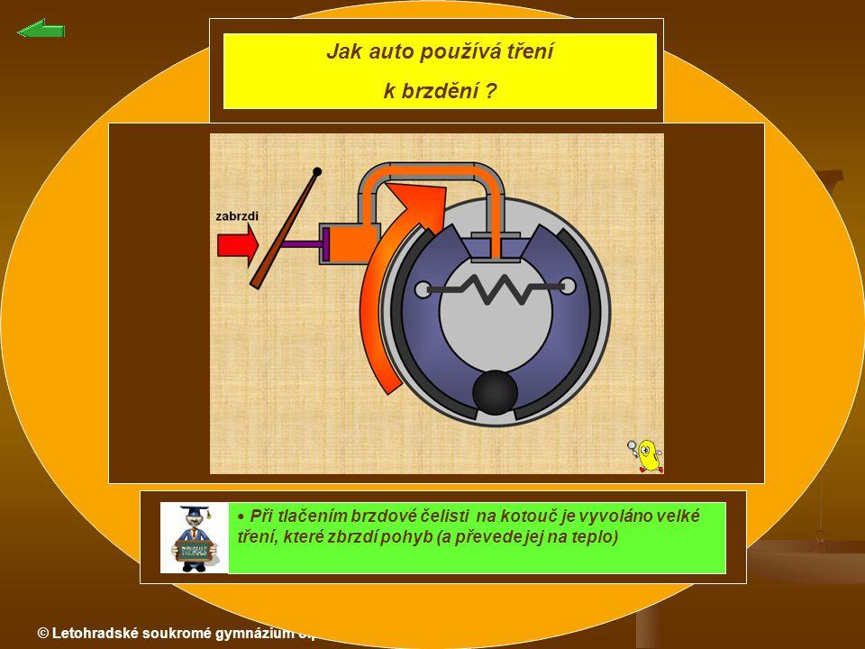 © Letohradské soukromé gymnázium o.p.s. Jak auto používá tření k brzdění ? Při tlačením brzdové čelisti na kotouč je vyvoláno velké tření, které zbrzd