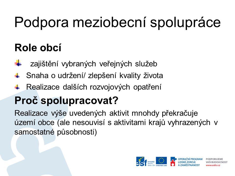 Podpora meziobecní spolupráce Role obcí zajištění vybraných veřejných služeb Snaha o udržení/ zlepšení kvality života Realizace dalších rozvojových op