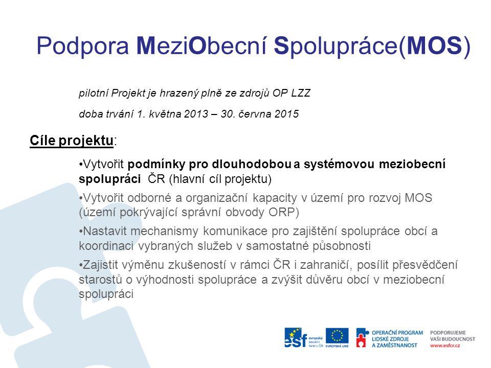 Podpora MeziObecní Spolupráce(MOS) pilotní Projekt je hrazený plně ze zdrojů OP LZZ doba trvání 1. května 2013 – 30. června 2015 Cíle projektu: Vytvoř