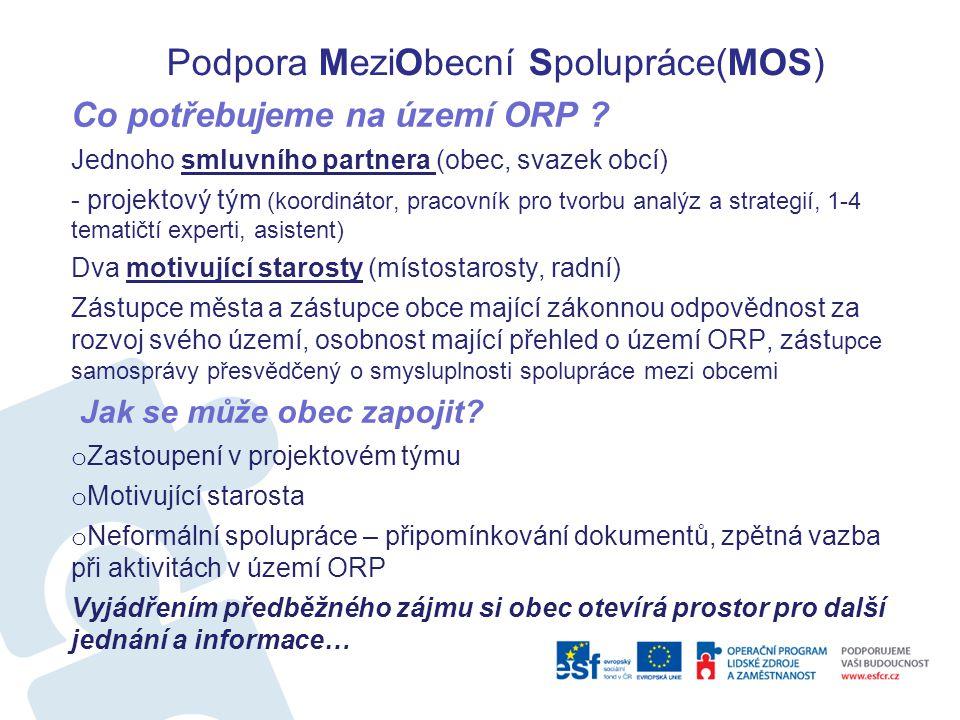 Podpora MeziObecní Spolupráce(MOS) Co potřebujeme na území ORP ? Jednoho smluvního partnera (obec, svazek obcí) - projektový tým (koordinátor, pracovn