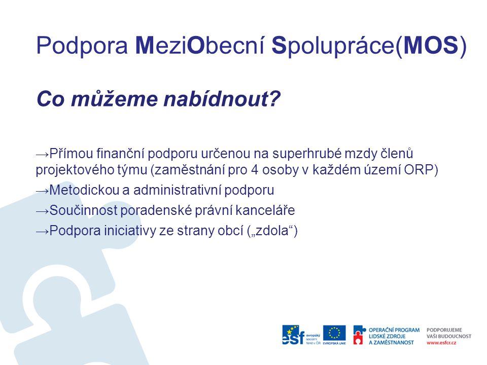 Podpora MeziObecní Spolupráce(MOS) Co můžeme nabídnout? →Přímou finanční podporu určenou na superhrubé mzdy členů projektového týmu (zaměstnání pro 4