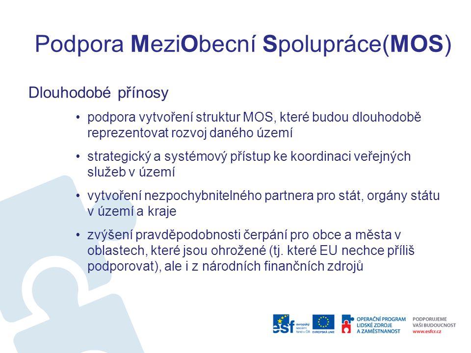 Podpora MeziObecní Spolupráce(MOS) Dlouhodobé přínosy podpora vytvoření struktur MOS, které budou dlouhodobě reprezentovat rozvoj daného území strateg