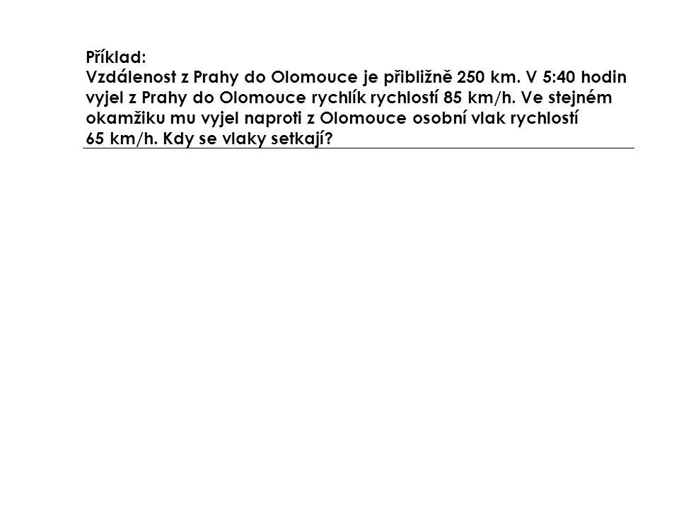 Příklad: Vzdálenost z Prahy do Olomouce je přibližně 250 km. V 5:40 hodin vyjel z Prahy do Olomouce rychlík rychlostí 85 km/h. Ve stejném okamžiku mu